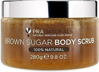 PraNaturals Brown Sugar Body Scrub - Natural Exfoliating Body Scrub - Gently Removes Dead, Dry Skin Cells - 280g