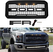 Front Grill for Ford F250/F350 2011-2016, Grille Replacement Amber LED Lights Included, Raptor Style Grill (Matte Black)