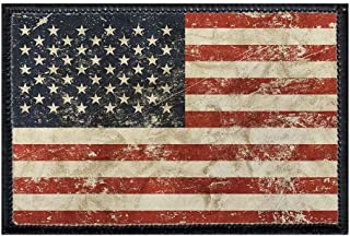 American Flag - Distressed Morale Patch   Hook and Loop Attach for Hats, Jeans, Vest, Coat   2x3 in   by Pull Patch