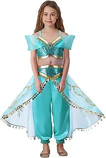 Girls Aladdin Pretend Princess Costume Jasmine Cosplay Clothing Top+Pant Set 1625#
