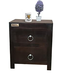 Meera Handicraft Sheesham Wood 2 Drawers Bedside End Table for Living Room | Walnut Finish