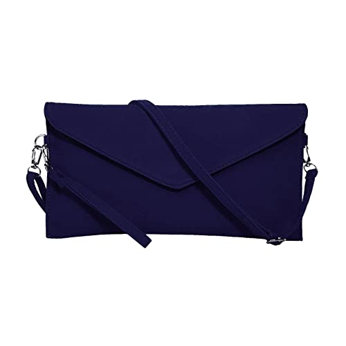 Small Blue Clutch Bag with Wristlet and Long Strap