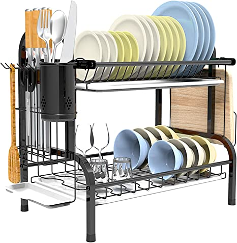 Amazon Com Fenteng Dish Rack And Drainboard Set 2 Tier Dish Rack Stainless Steel Kitchen Dish Drying Rack Dish Drainer For Counter Cabinet Kitchen Sink Storage Washing Dishes Home Kitchen