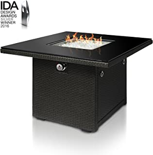 Outland Living Series 410 Slate Grey 36-Inch Outdoor Propane Gas Fire Pit Table, Black Tempered Tabletop w/Arctic Ice Glass Rocks and Resin Wicker Panels, Slate Grey/Square