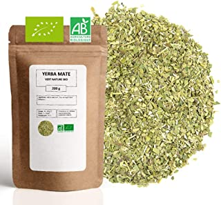 Yerba Maté Vert Bio ★ Origine Brésil ★ Riche en Vitamines et Antioxydants ★ Maté Vert en Vrac ★ Sachet 200 g avec Zip ★ 80...