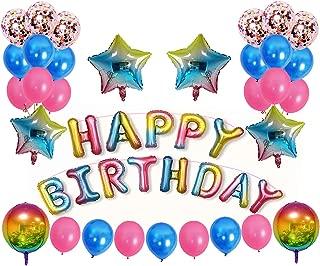 Birthday Party Decorations, 1stBirthdayDecorations Include Happy Birthday Banner Rainbow Balloons and Foil Balloons 1stBirthdayGirlDecorations Suitable for Girls and Boys Birthday Decorations (45pcs)