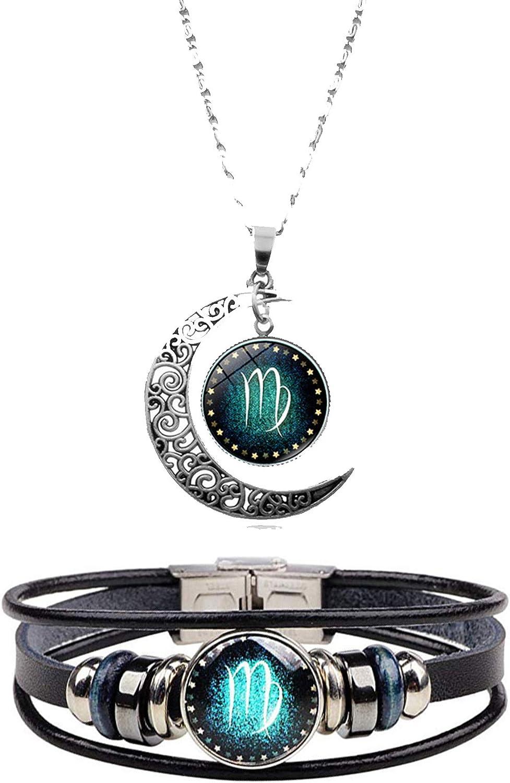 Dcfywl731 Ranking TOP1 2Pcs Gemini Zodiac Sign Oklahoma City Mall Women Necklace for Me Bracelet