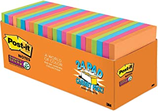 """Post-it Super Sticky Notes, 3"""" x 3"""" Classroom Pack, 24 pads, 65 sheets per pad, Bright Colors 3"""" x 3"""" Multi-Color"""