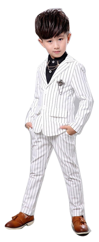 子供スーツ 男の子スーツ フォーマルスーツ 全2色 2点セット/ジャケット/ズボン ツーピース ストライプ 子供タキシード 男の子 キッズ服 ジュニア 紳士服 入学式?入園式?発表会?結婚式?お受験?七五三 ベビースーツ