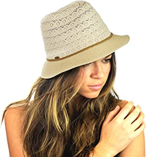 a03d584b671e5 NYFASHION101 Braided Trim Spring Summer Cotton Lace Vented Fedora Hat