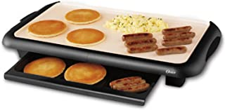 Oster Titanium Infused DuraCeramic Griddle with Warming Tray, Black/Crème (CKSTGRFM18W TECO)