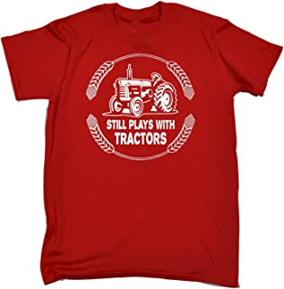 123t Funny Novelty Men's Still Plays with Tractors T-Shirt Birthday Gift for him Her