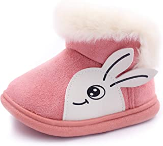 Toddler Baby Girls Boys Winter Snow Boots Faux Fur Lined Warm Girls Booties TPR Sole Cold Weather Flat Shoes Infant Toddle...