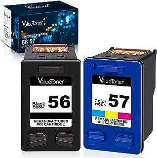 Valuetoner Remanufactured Ink Cartridges for HP 56 & 57 C9321BN C6656AN C6657AN for Deskjet 5650 5550 5150, Photosmart 7350 7260 7450 7550 7760, PSC 2210 Printer (1 Black, 1 Tri-Color, 2 Pack)