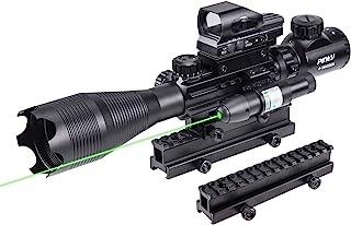 Pinty Rifle Scope 4-16X50 Illuminated Optics Sight Green Laser, Reflex Holographic Dot Sight, Riser Mount 14 Slots 1 inch ...