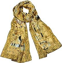 Dahlia Women`s 100% Luxury Silk Scarf - Gustav Klimt`s Famous Painting