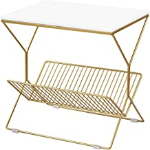 Living Room Furniture Metal Bedroom Bedside Table - High Density Board Small Side Table Coffee Table - Gold Metal Storage ...