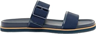 Shoexpress Textured Slip-On Slides with Buckle Accent Blue 45 EU