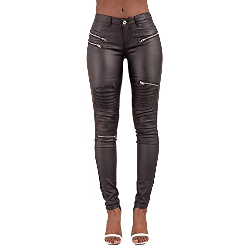 47275c45c009a LustyChic Women Ladies High Waisted Leather Look Shiny Skinny Jeans Black  Leggings Trousers Size 6-