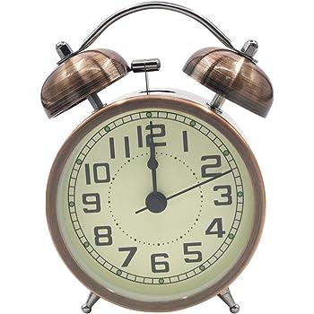 Retro Sveglia Silenziosa da Comodino Orologio Sveglia Metallo di Quarzo Analogico 3 Pollici Sveglia Batteria da Viaggio con Luce Notturna e Allarme Forte Blu EASEHOME Sveglia a Doppia Campana