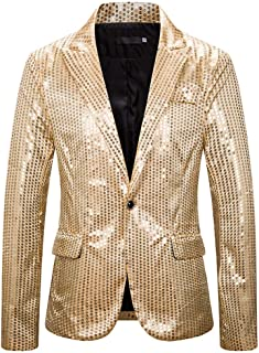 MENAB Mens Sequin Blazer One Button Fit Suit Jacket Metallic Casual Blazer Nightclub Style Long Sleeve Shiny Dance Tops Di...