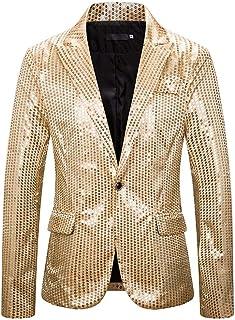 HJHK Men's Jacket Long Sleeve Button Lapel Flashing Tuxedo Jacket Glitter Sequins Blazers Wedding Business Casual Blazers ...