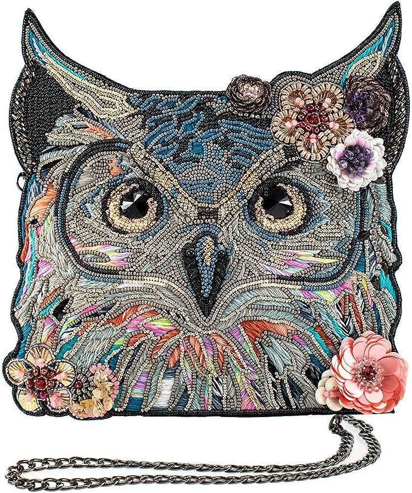 Mary Frances Spirit Owl, Beaded-Embroidered Crossbody Handbag, Multi