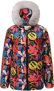 Smileyth Women Cotton Coat Winter Thick Long Sleeve Colorful Floal Printed Fur Hooded Fashion Ladies Full Zip Short Quilted Jacket Outerwear Sportswear