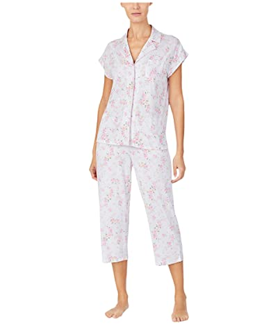 LAUREN Ralph Lauren Cotton Rayon Jersey Knit Short Sleeve Notch Collar Dolman Capri Pants Pajama Set (Pink Floral) Women