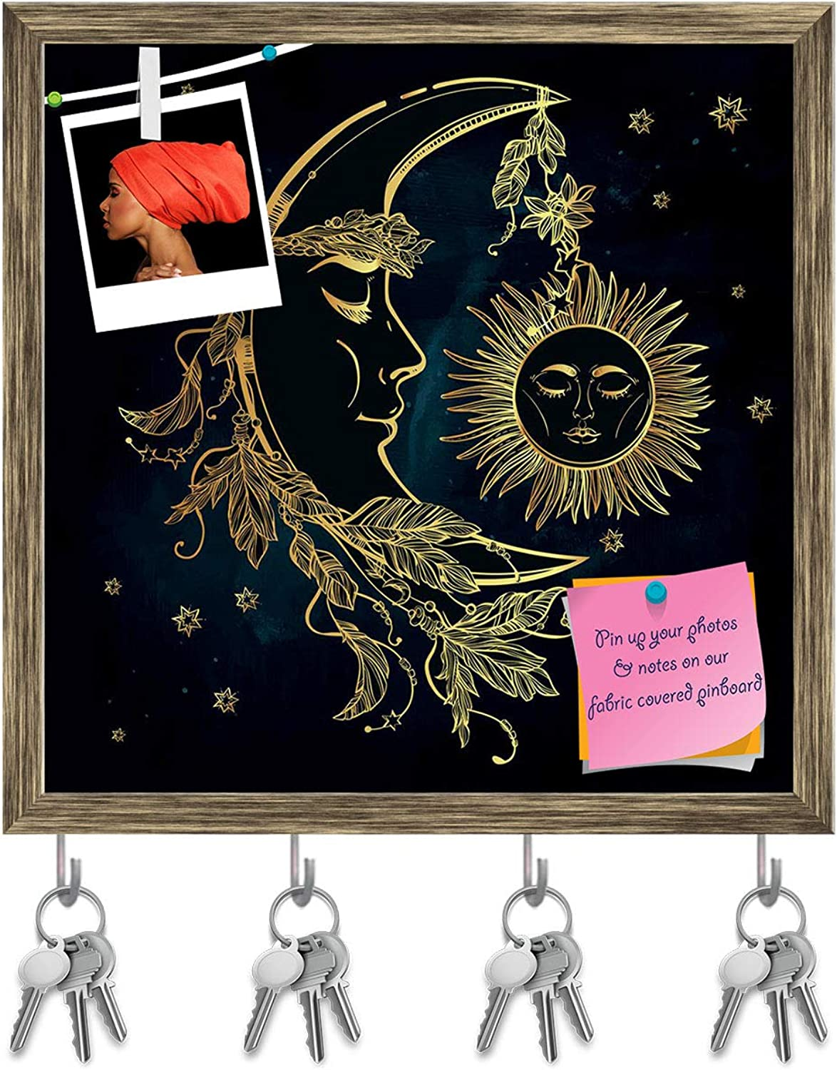 Artzfolio Crescent Moon with Feathers Key Holder Hooks   Notice Pin Board   Antique golden Frame 20 X 20Inch