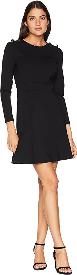 Knit Fit and Flare Ponte Dress with Button Shoulder
