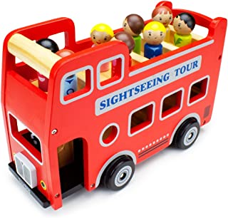 Double-Decker Tour Bus for Kids - Wooden Wheels Large Toy Car with Removable Top Deck & 9 Figurines - Classic Red Wood Chi...