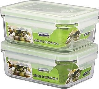 Juego de 2 Contenedores Rectangulares Glasslock 100% Herméticos en Vidrio Templado, Recambios para Bolsas Térmicas, Capacidad 715 ml