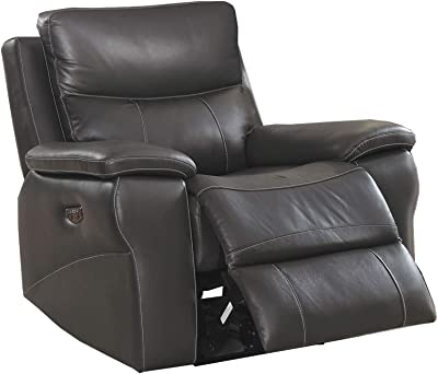 Benjara Faux Leather Upholstered Wooden Recliner with Split Cushion, Gray