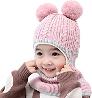 ROSEBEAR Enfants Chapeau d'hiver Enfant Tricot Oreillette Bonnet Chaud Coupe-Vent Doublé en Polaire Capuche pour 2-5 Ans F...
