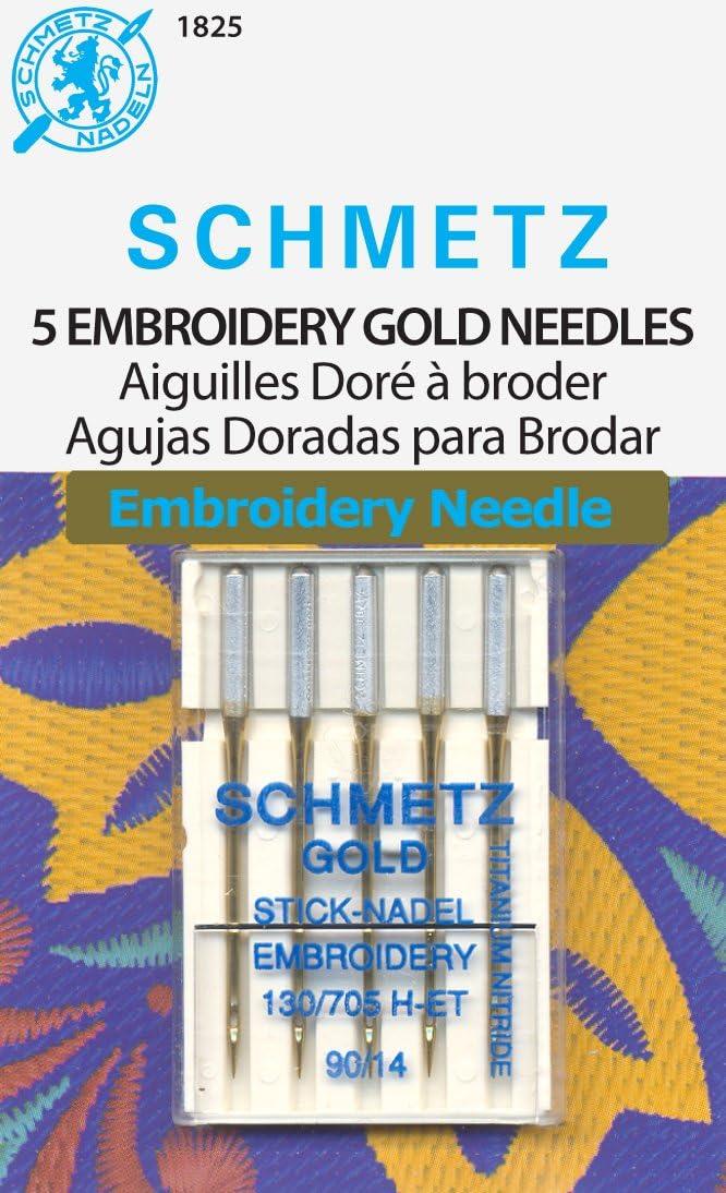 Euro-Notions Agujas para máquina de Coser Modelo Gold, Talla 14/90, Multicolor,5 Unidades.