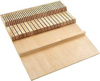 Rev-A-Shelf 4WDKB-1 2 Row Trimmable Knife Block Drawer Organizer Insert, Wood