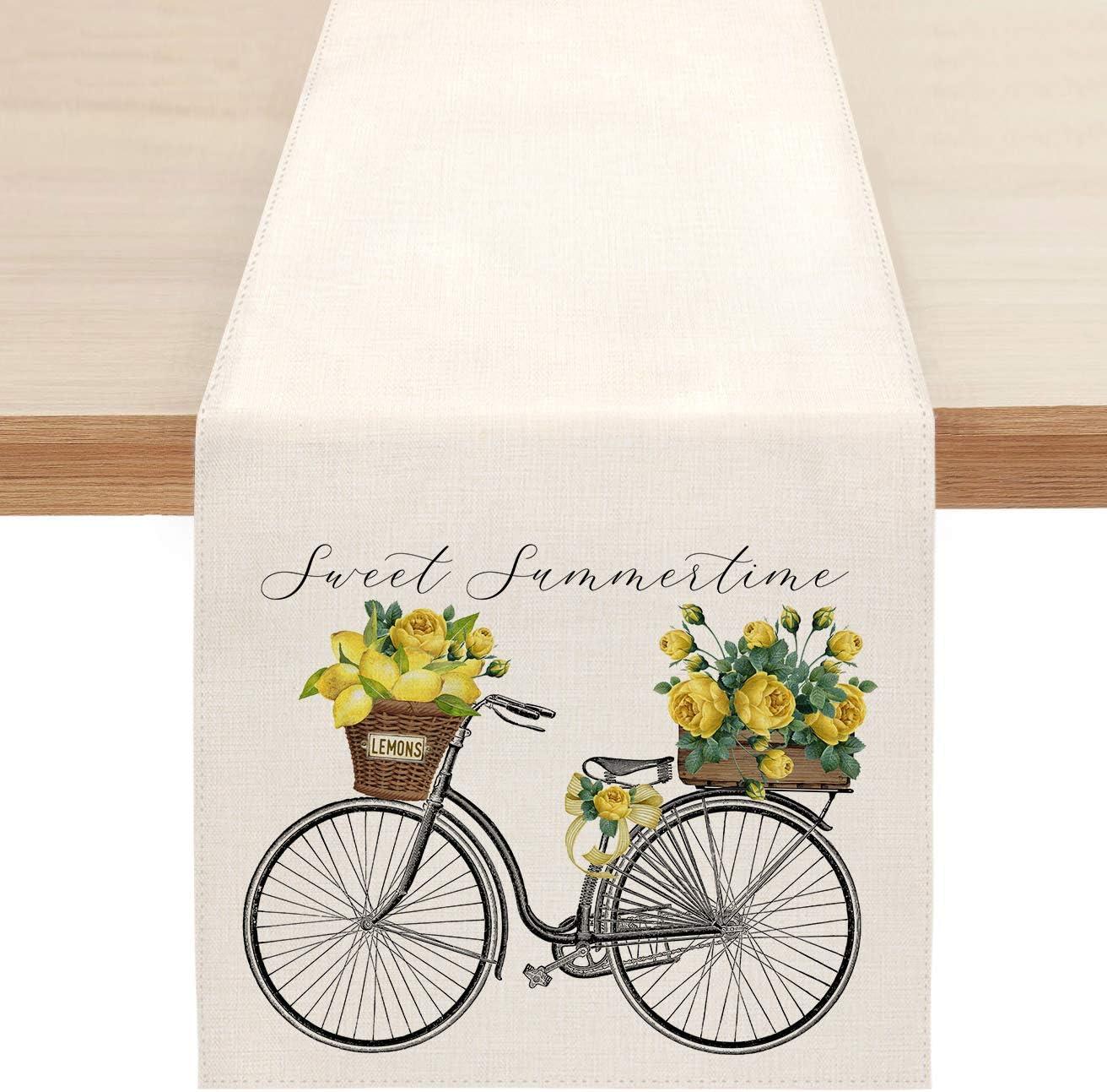 Sambosk Summer Luxury Lemon Austin Mall Bicycle Table Runner Time Sweet Tab