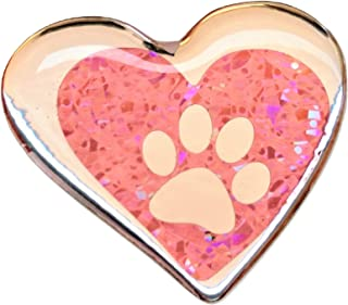 3D Dog Paw Domed Pink Reflective Silver Chrome Foot Dog Footprint Lover Animal Love Heart Sticker Vinyl Sport Motorbike Helmet Motorcycle Bike Racing Car Decal Badge Sticker Door Window Tailgate Truck Trunk Side Rear Emblem Gel 2