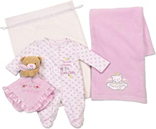 Baby Starters 3-Piece Layette Set with Baby Blanket, Bodysuit and Snuggle Buddy Toy Rattle for Newborns and New Moms (Pink, Thank Heaven, 0-3M)