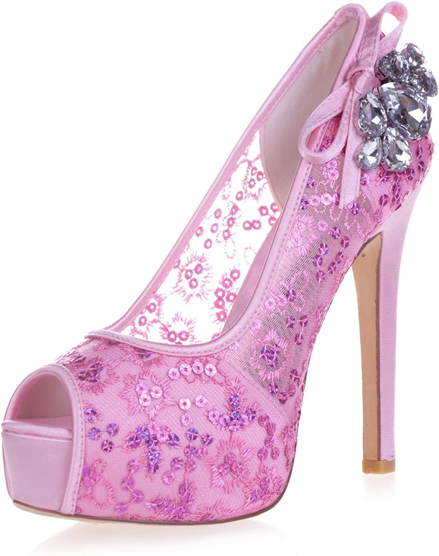 L@YC 3128-35 Frauen High Heels Strass Spitze Peeking Peeking Toe Pump Gericht Braut Satin Schuhe  Luxusmarke