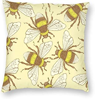 Teesofun Polyester Square Vintage Bee Throw Pillow Covers 18x18 Inch Decorative Floor Pillow Cover for Couch Bed Room Chair