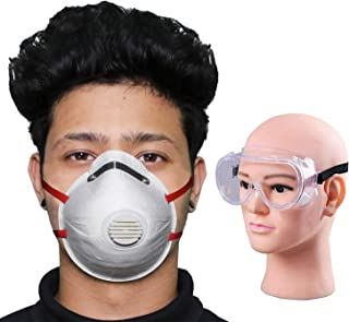 HACER Combo of 1 Piece Goggle O2 ORCSW03 6 Layer Face Mask Cup Shape with Filter & Nose Pin Mouth Respirator for Men & Women (5 PCS)