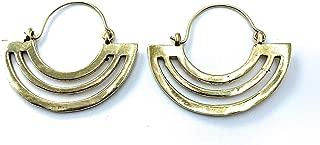 Fan Shaped Half Moon Art Deco Double Sided Modern Minimal Drop Earrings for Women, Gold