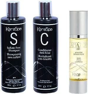 Keraspa Brazil Sulfate Free Shampoo, Anti Frizz conditioner - Serum kit after keratin & protein