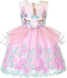 女の子のパーティードレス クリスマスドレス女の子ユニコーンドレスノースリーブプリンセスドレス子供パーティーコスチュームハロウィーン フォーマルなパーティーの誕生日の卒業プロムのダンスのボールのドレスドレス (サイズ : 7T)