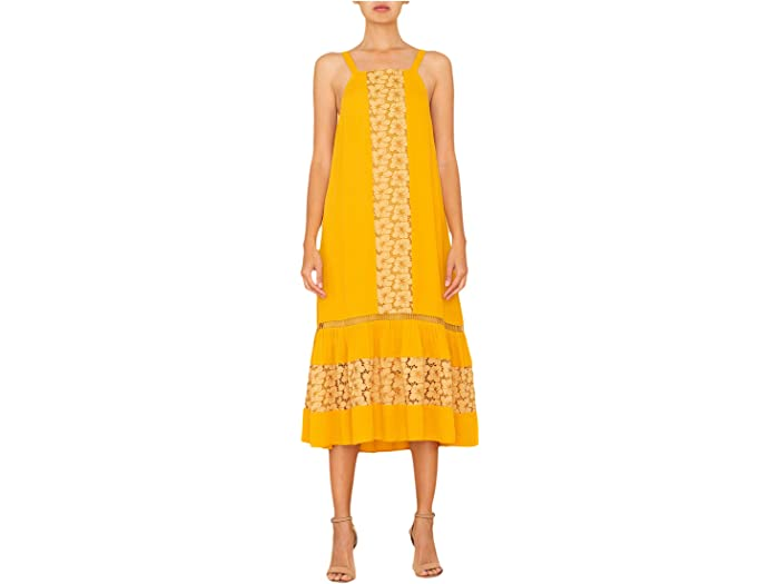 Miss Me Floral Lace Woven Dress in Mustard Yellow