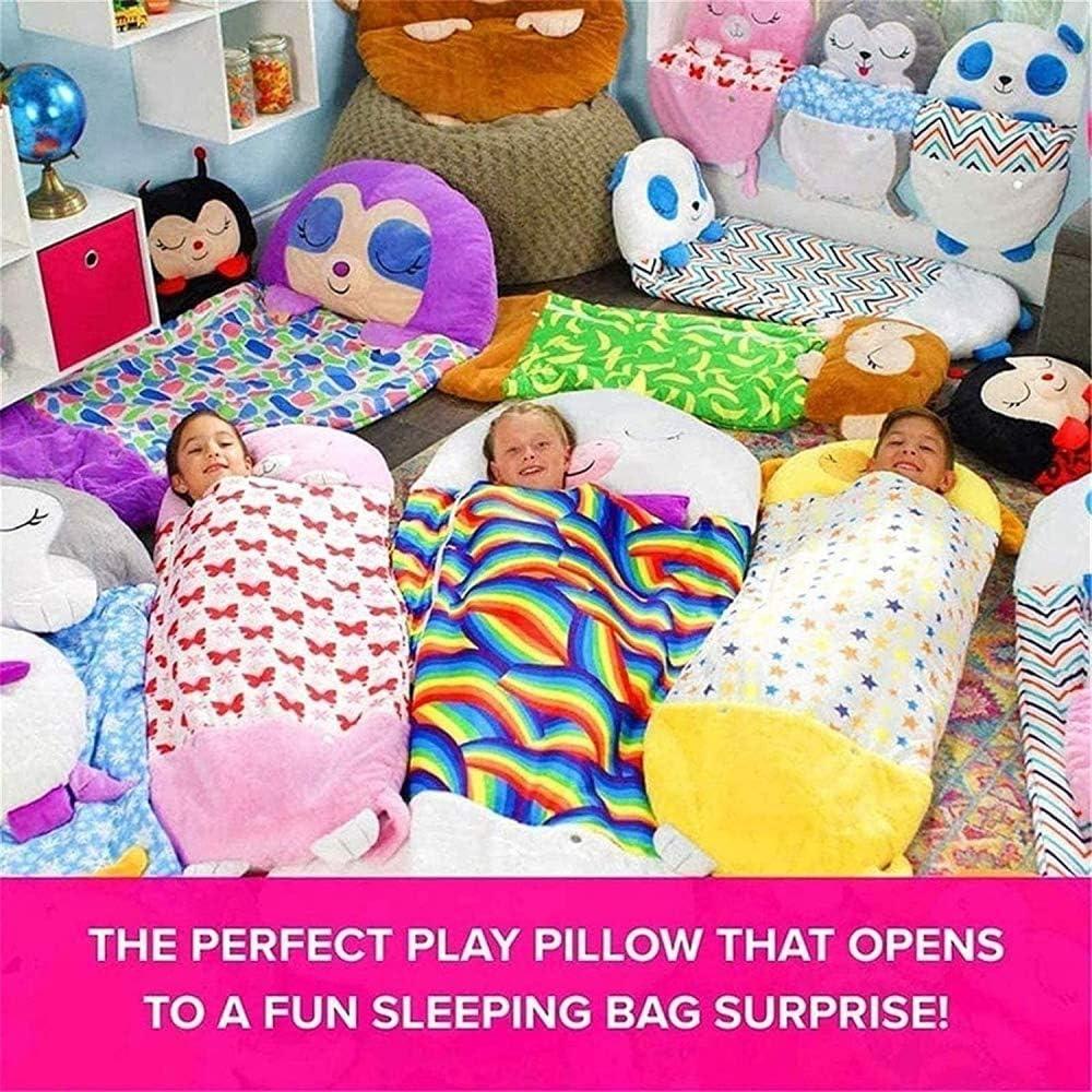 Super Soft /& Warm All Season Comfortable Kids Sleeping Bags 2 in 1 Nap Pillow /& Kids Sleeping Bag-Unicorn Red Pink Massager Play Pillow /& Sleeping Bag