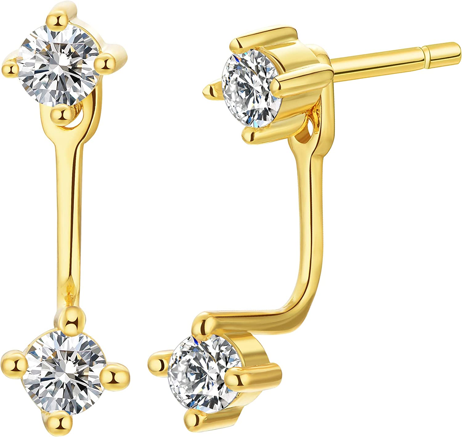 Sterling Silver Double CZ Ear New popularity Back Earrings Front Max 64% OFF Jacket