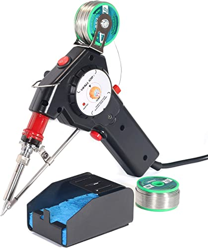 new arrival YIHUA 929D-I Motorized Automatic Feed Soldering Gun with Variable Precise Temp (392 - discount 842°F), On-off Switch, Temp Adjustment Dial for Single-Handed lowest soldering work, Wire Splicing, Wire-to-switch outlet online sale